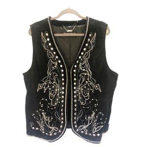 Pamela McCoy Women's Vest size 1X leather studded